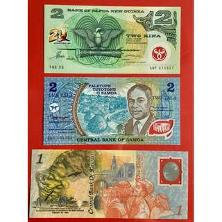 Set of 3 Commemorative Polymer Banknotes (Kuwait, Papua New Guinea, Samoa)