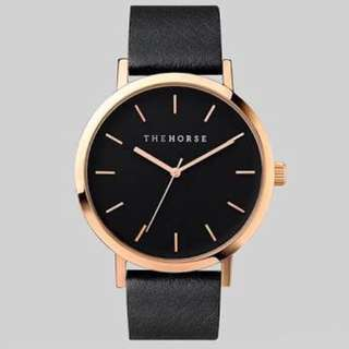 The Horse watch - Black & Rose Gold