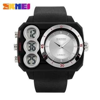 SKMEI Jam Tangan Analog Digital Pria - AD1090 - Black/Silver