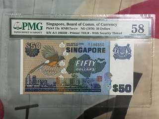 Fundraising Sale - Singapore Bird Series $50 Paper Banknote A/1 First Prefix PMG 58 AUNC