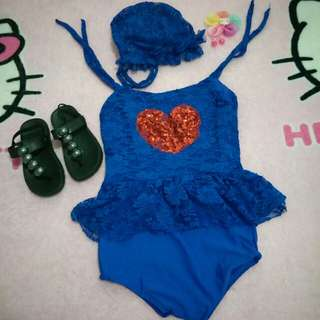 Blue heart romper