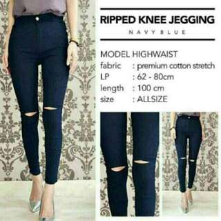 JEGGING ONE RIPPED Bahan Import China Bahan Super Stretch 1 Ukuran , Muat Sampai Ukuran 30 BANYAK WARNA