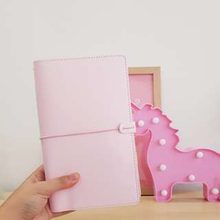 < brand new instock > standard size traveler's notebook tn journal in baby pink with inserts