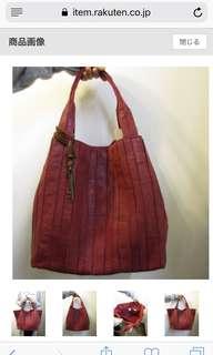 日本Trideep 紅色羊皮手袋
