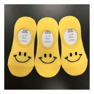 Cute Korean Socks - Smiley Face - Yellow