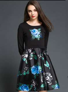 AO/XKC070643 - Charming Fashion Round Neck Floral Splicing Slim Dress