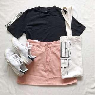 Korean Ulzzang Pink A Line Button Skirt