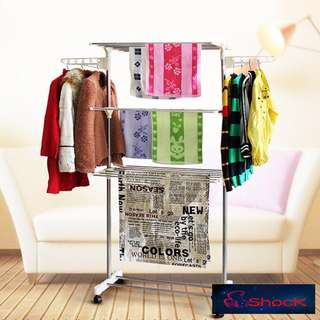 Foldable Stainless Steel Three Layer Laundry Clothes Drying Rack With Hanger