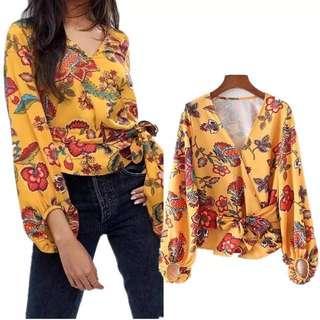 European and American fashion printing lantern sleeve shirt belt shirt