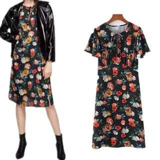 European short-sleeved round neck tie print lotus leaf sleeve dress