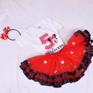 Minnie Mouse inspired Trim Ribbon Tutu skirt & customized Shirt | onesie-