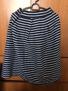 Blue White Stripe Skirt