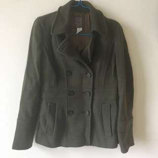 J Crew Stadium Cloth winter peacoat olive green