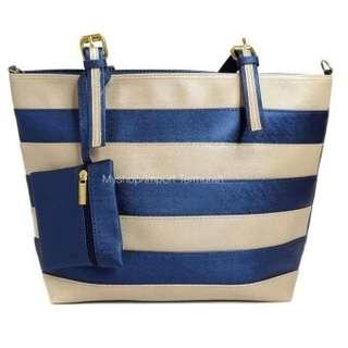 New Koleksi Terbaru Tas Tote Bag Strip Wanita Cewe Import G1 Blue