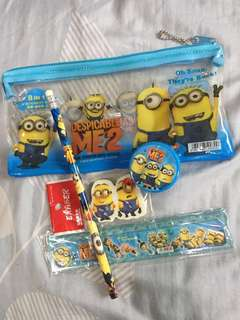 Despicable Me 2 stationary set with pencil case minion
