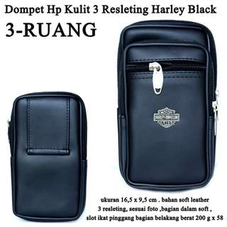 Dompet Hp Pinggang 3 resleting Harley black