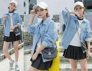 Jaket jeans wanita monic beeds bershka jaket jumbo mutiara pearl jeans