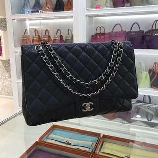 Chanel 黑色銀扣牛皮Classic maxi jumbo 🐾原價買時$52000