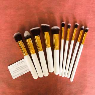 10 pcs professional makeup brushes in white gold