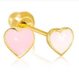 Ear piercing earrings gold plated 24k