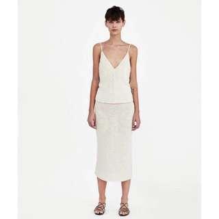 🚚 OshareGirl 03 西班牙單歐美女士深V領針織細肩上衣/高腰鬆緊半身長裙套裝組