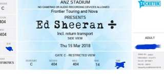 Ed Sheeran Tix X 2 15th March 2018