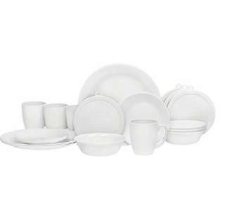 Express delivery -- Corelle Livingware 20 Piece Dinnerware Set winter frost white . Service for 4