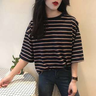 [PO] Ulzzang Oversized Striped Tee