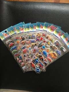 (bundle of 10sheets)kids transport 3DStickers-kids stickers