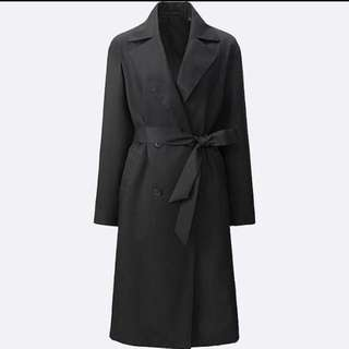 Women's Uniqlo Black Drape Trench Coat
