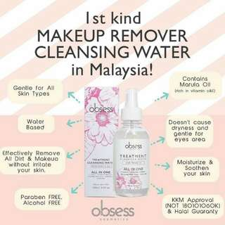 Obsess make up cleansing water