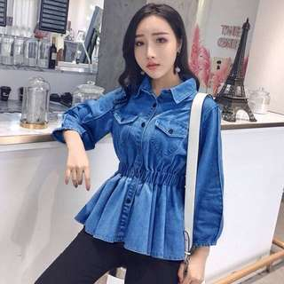 Denim Babydoll Long Sleeve Top