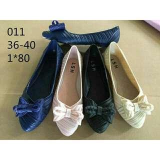 Sepatu wanita jelly flat ulir ribbon tikar