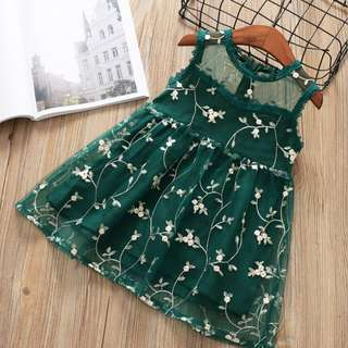 Kid Girls Children Sleeve less Lace Embroidery flower Princess dress