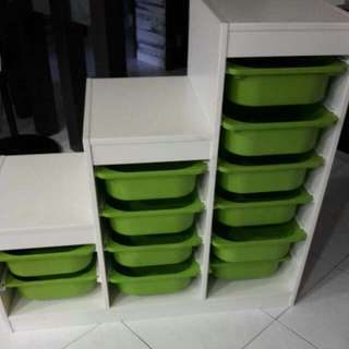 *Urgent Clearance * Storage Cabinet With 12 Green Boxes  IKEA-TROFAST