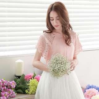 Blush Pink Crochet Lace Raglan Sleeve Top
