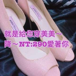🚚 免運費,粉色晶亮防水台高跟鞋9cm/23.5/37