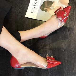 2018 new fashion rhinestone buckle transparent glass shoes pointed flat shoes with a single woman Joker