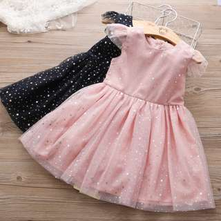 Kid Girls Star Printed Tulle Short Sleeves Princess Party Dinner Dress
