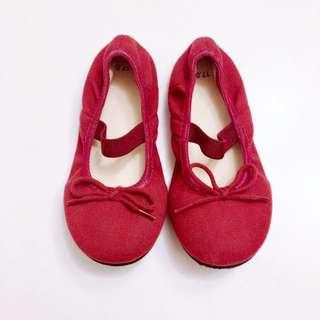 [MUJI無印良品]女童鞋 幼兒棉質蝴蝶結芭蕾舞平底鞋 娃娃鞋 休閒鞋(17cm )