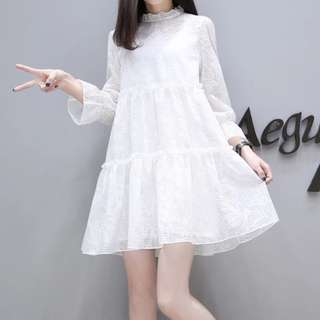 (PO) Summer Causal Pregnancy Long Sleeves Lace Loose Dress