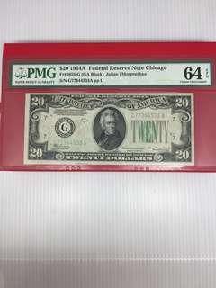US 20 Year 1934 A , PMG 64 EPQ