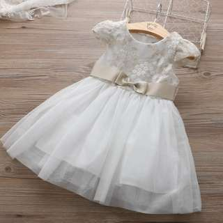 Kid Girls Embroidery Flower Flora Tulle Dress Princess Party Dinner