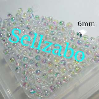 Clear Glossy 6mm Beads Sellzabo Craft Accessories Handmade White See Through