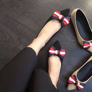 New European station 2018 Color Bow Women's shoes Color Matching Tip Flat Pumps Wild Summer