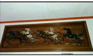 Dijual pajangan dinding pahatan kuda kayu jati