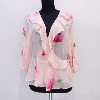 AR100 BLOUSE OUTER 100% SILK SPENSER JEREMY TIPIS PINK BUNGA IMPOR