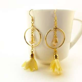 Dangling Earrings with Gold Hoops and Petal Tassel