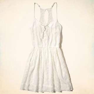 Hollister刺繡蕾絲白色連身裙 HCO lace dress A&F