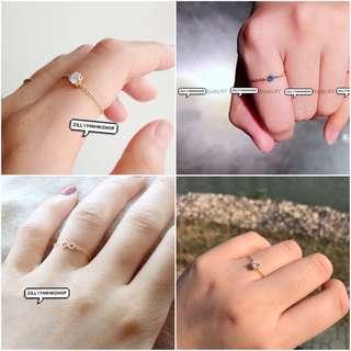 鑽石鋯石水晶鏈條戒指 gold chain band ring